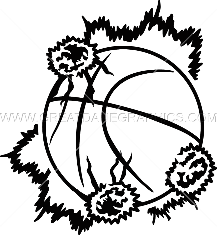 Explosive basketball production ready. Explosion clipart black and white