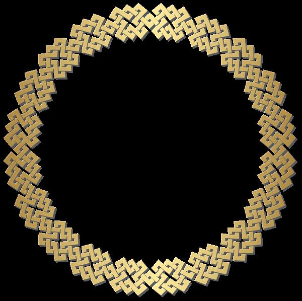 Golden round border frame. Hammer clipart gold