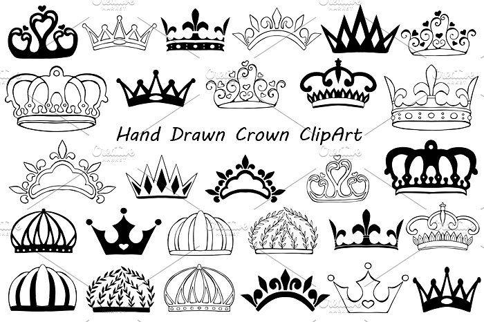Crown clipart doodle. Hand drawn eps ai