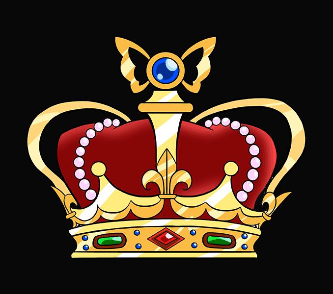 Cartoon crown drawing at. Crowns clipart rainbow