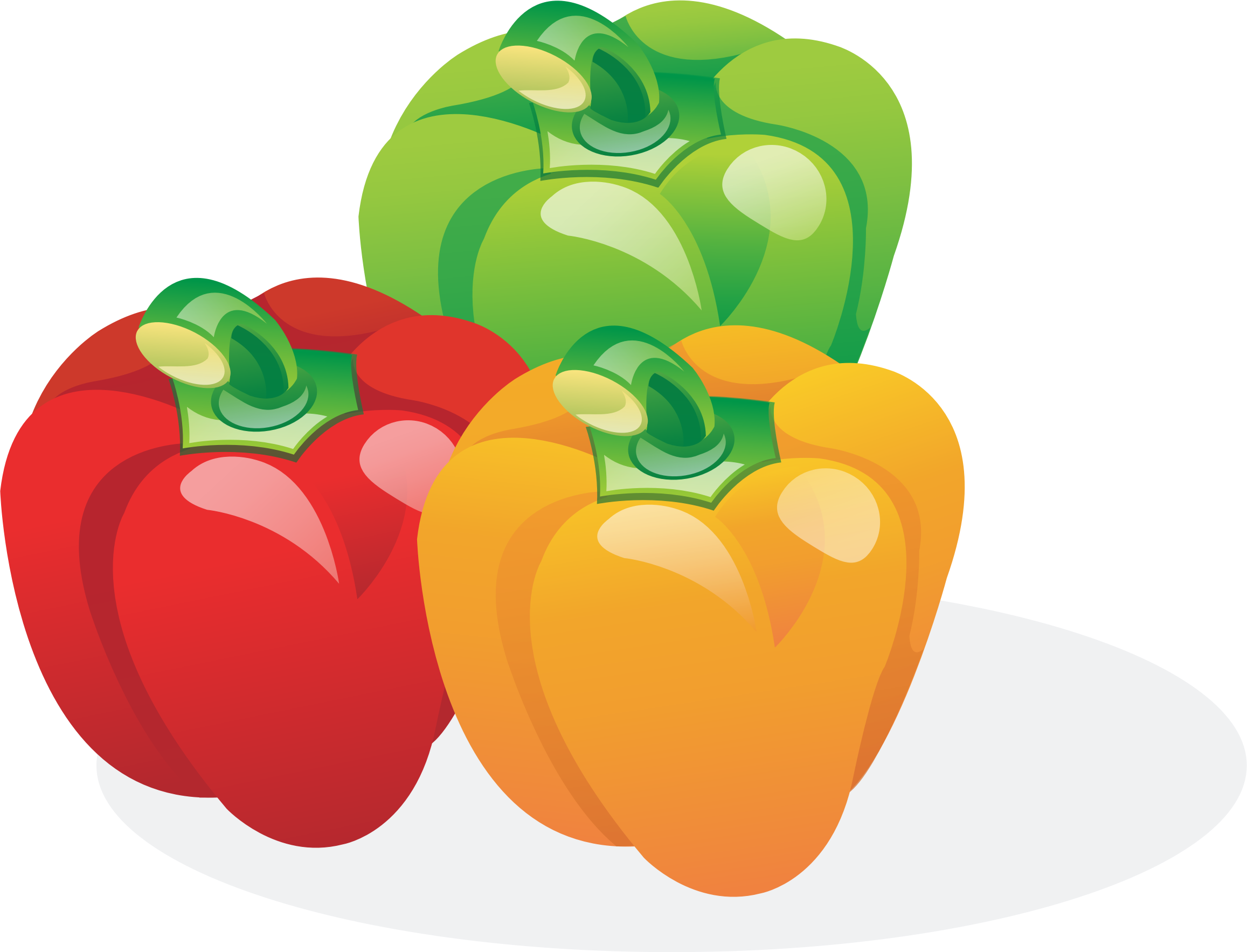 Multicolored bell peppers by. Clipart fruit friend