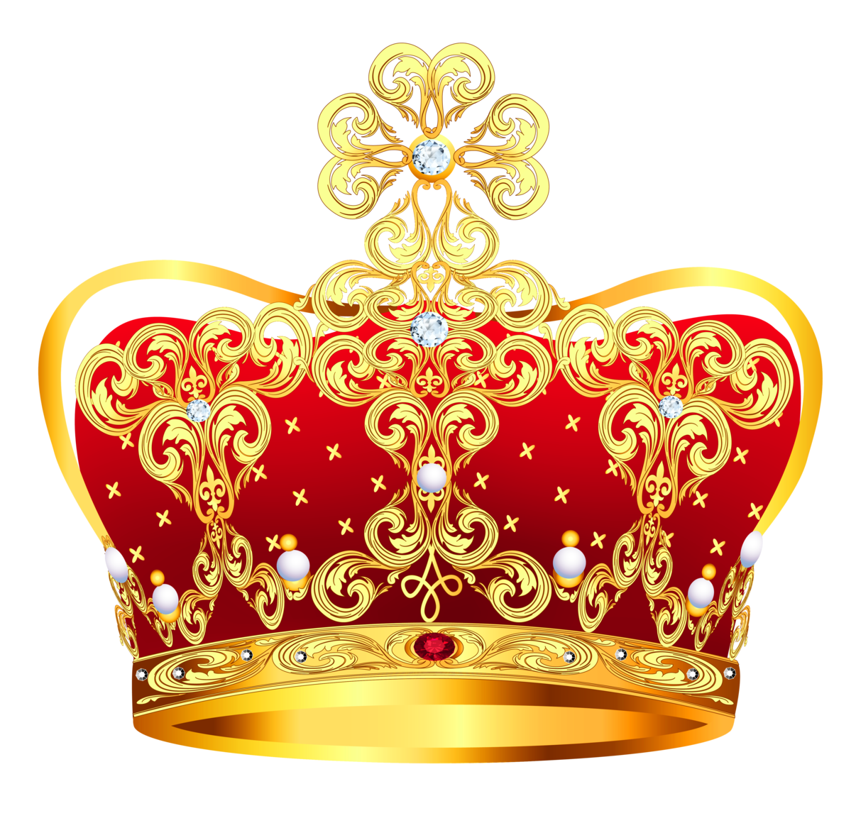 Queen clipart royal. Gold and red crown