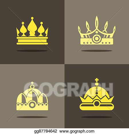 Clipart crown shadow. Vector yellow icons with