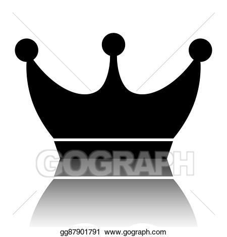 Eps vector king icon. Clipart crown shadow