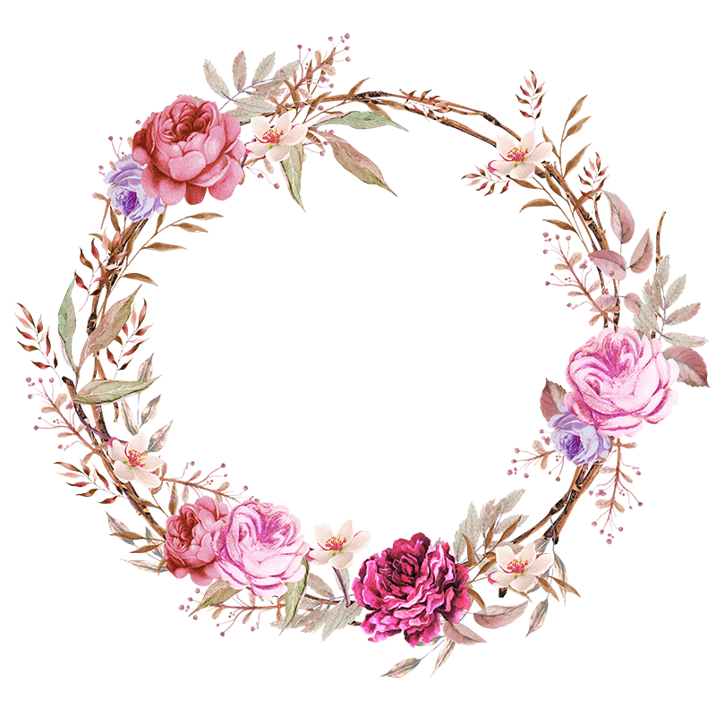 Flower picture frames watercolor. Woodland clipart wreath