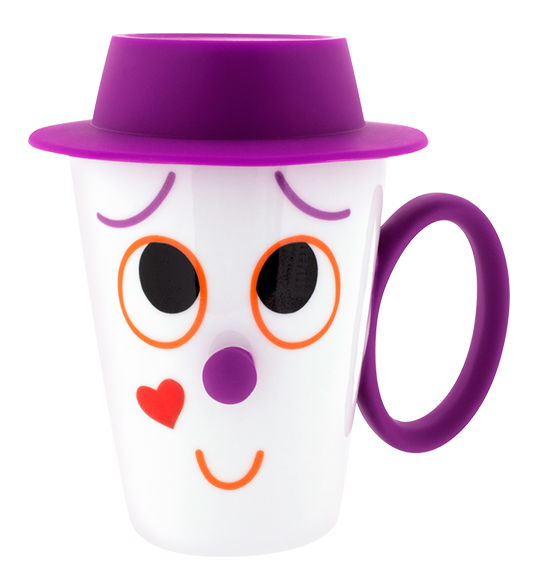 Face mug and lid. Cup clipart purple cup