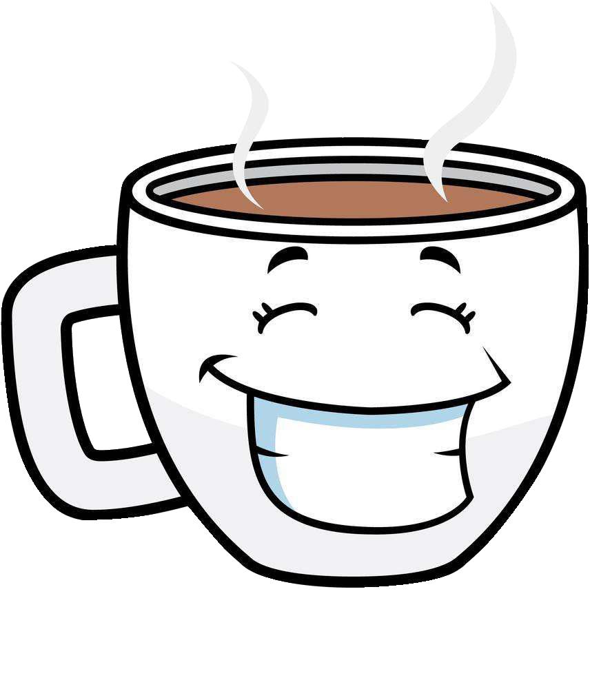Cup tea cafe cartoon. Mug clipart coffee face
