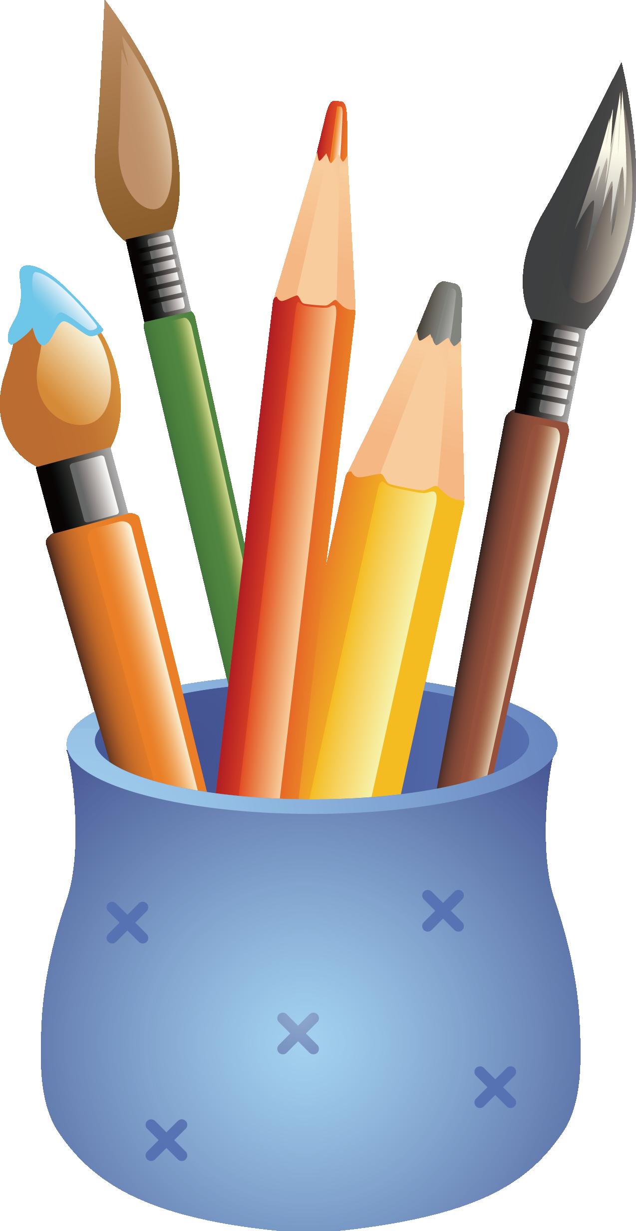 Case drawing cartoon pen. Paintbrush clipart colored pencil