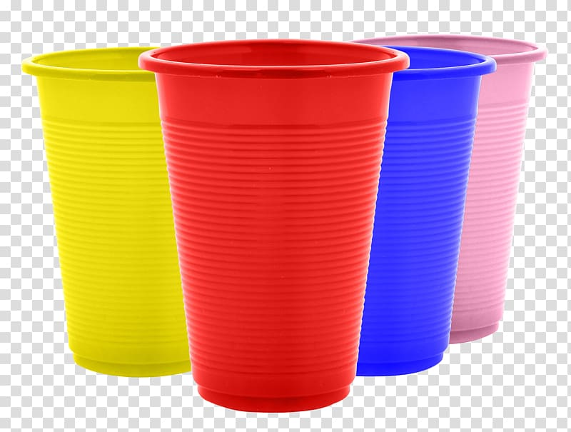 Cup clipart colored plastic. Four assorted color cups