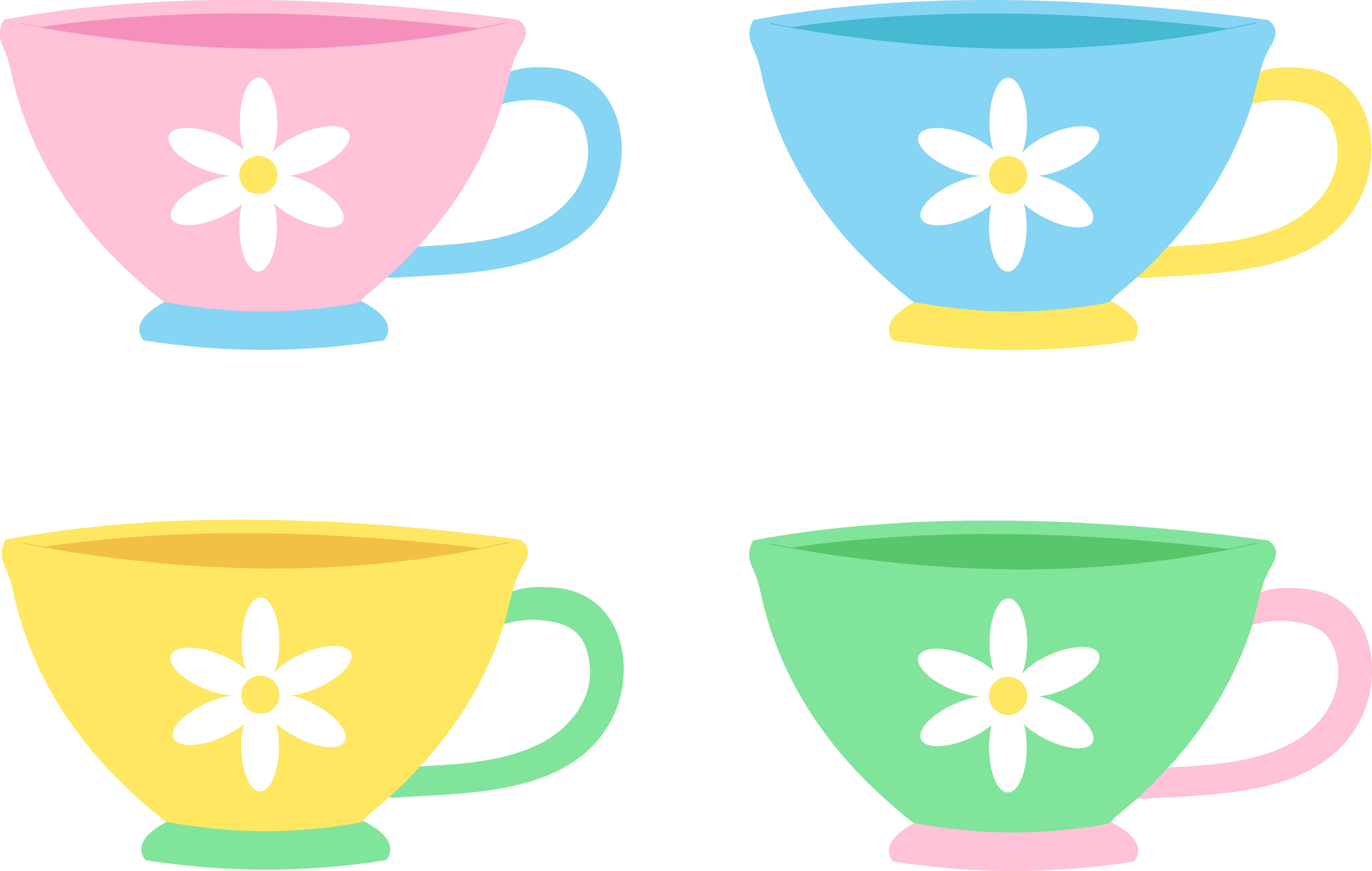 Set of four cute. Cup clipart plain