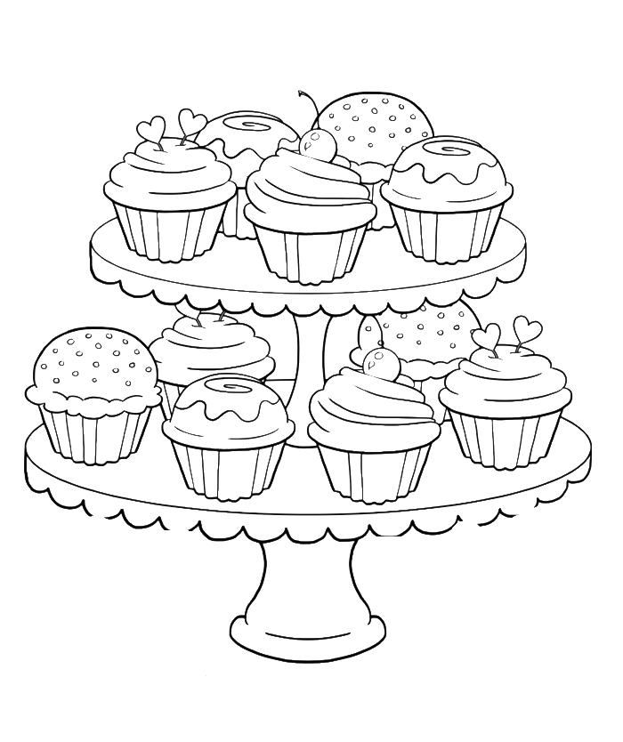 Coloring clipart cupcake. Birthday steady and delicious