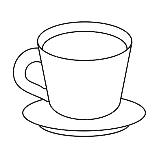 Cup clipart outline. Black and white free