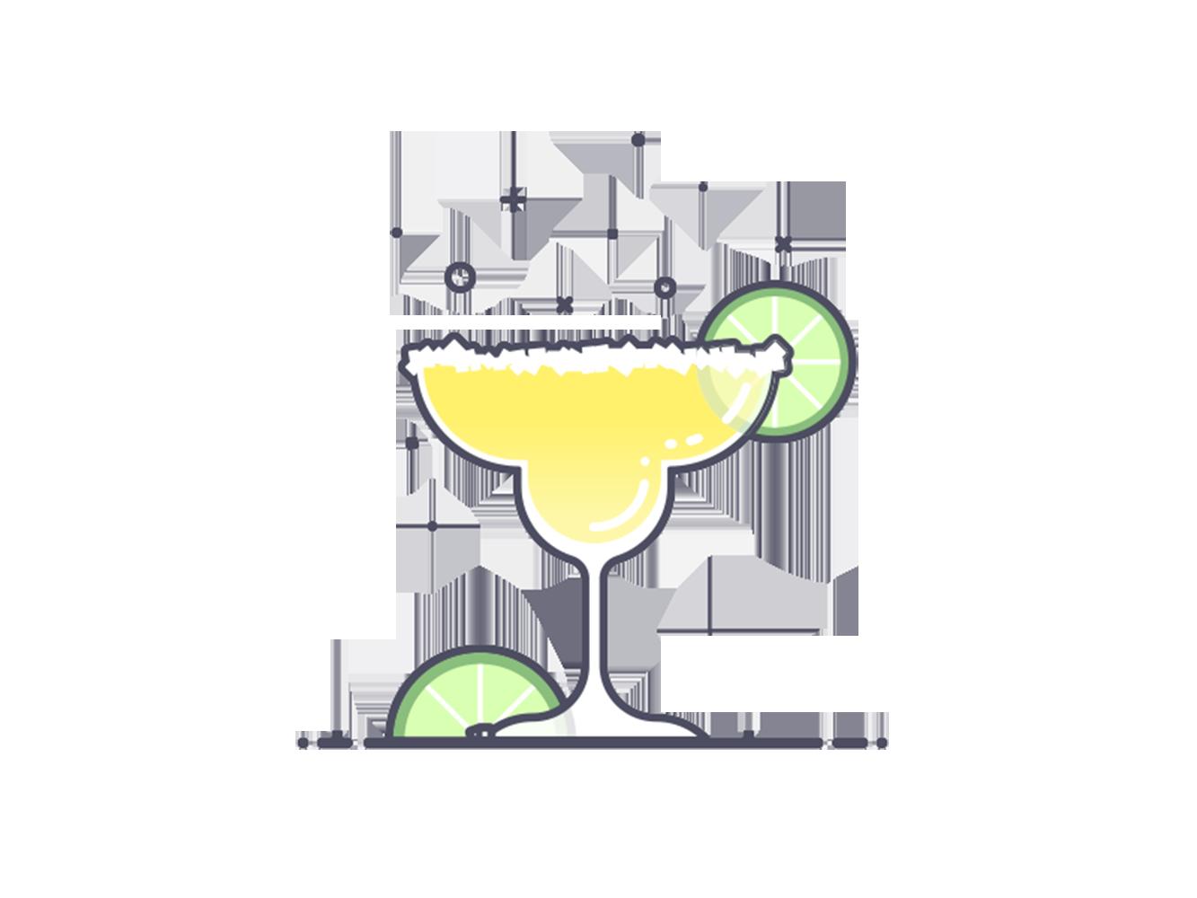 Cocktail limoncello lemon illustration. Cocktails clipart strawberry margarita