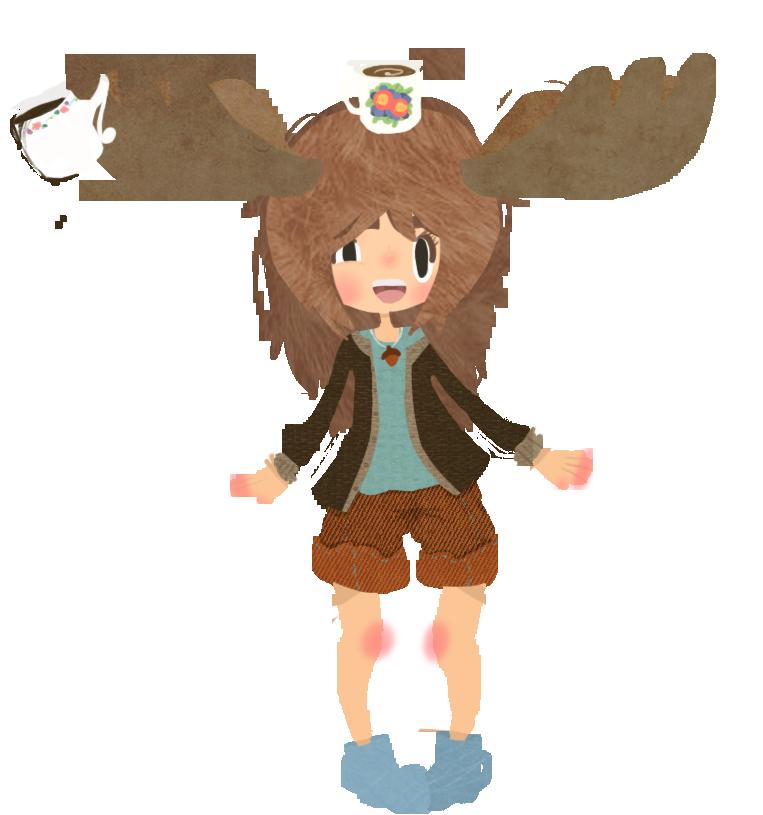 Caffeinated by caffeinatedmoose on. Moose clipart girl moose