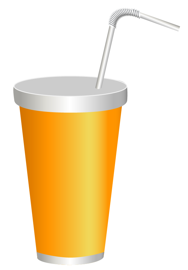 Yellow plastic drink cup. Drinking clipart christmas