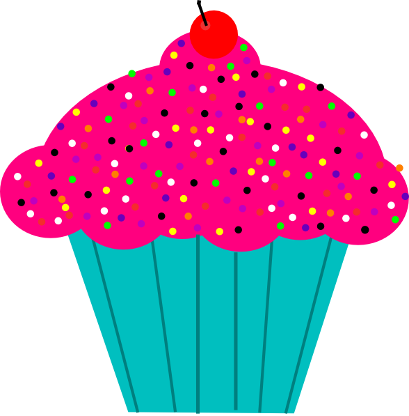 Pink frosted cupcake clip. Muffins clipart cartoon