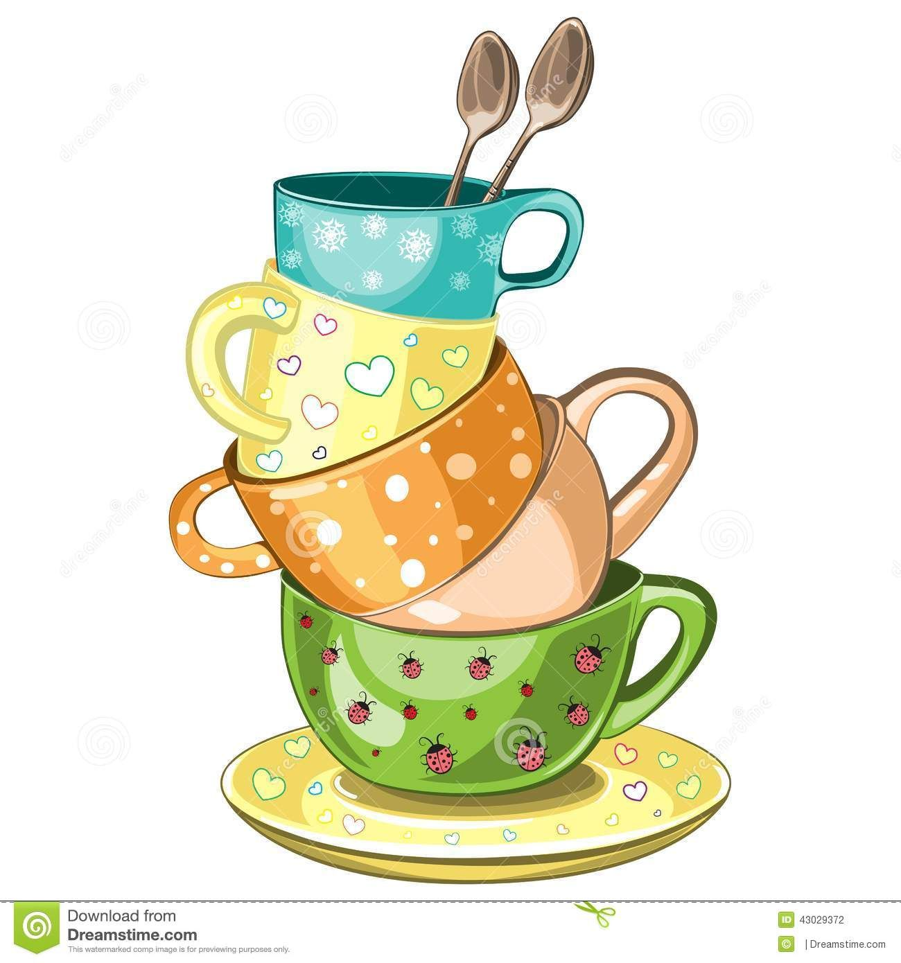 Tea clip art stock. Cups clipart stacked cup