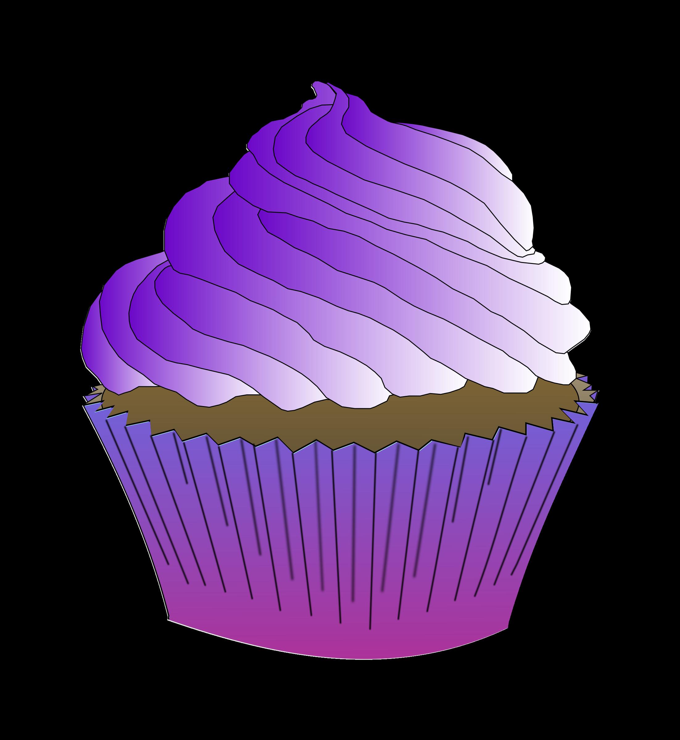 Chocolate purple cupcake big. Cupcakes clipart buttercream