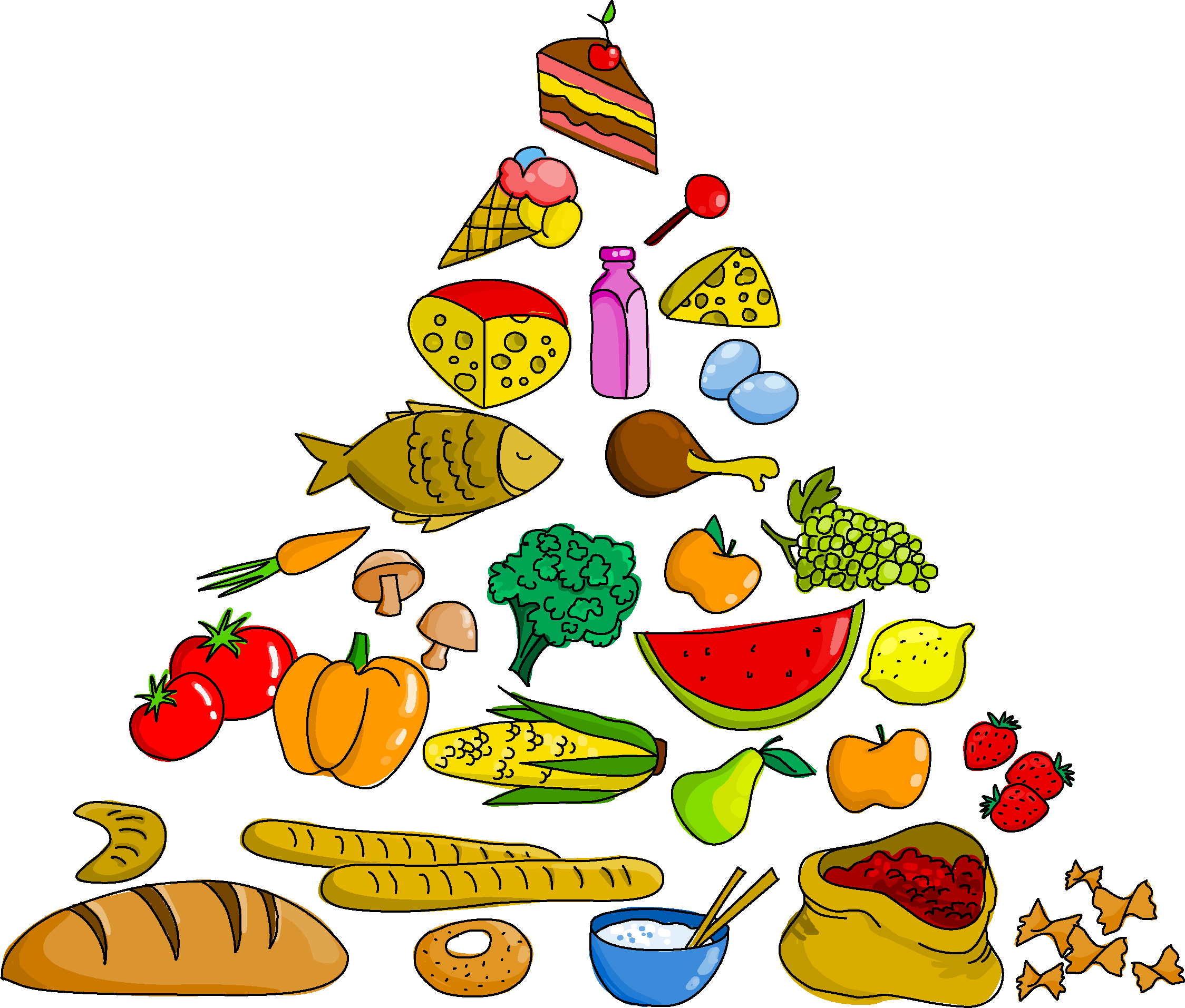 Food pyramid clip art. Foods clipart group