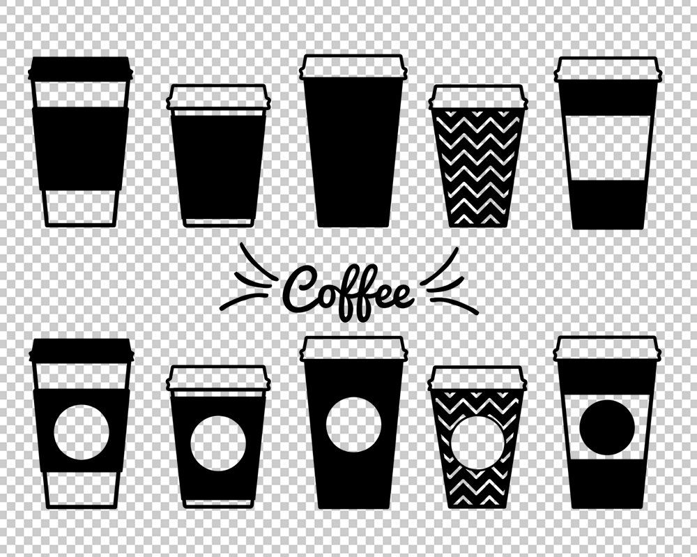 Coffee dxf paper cups. Mug clipart svg