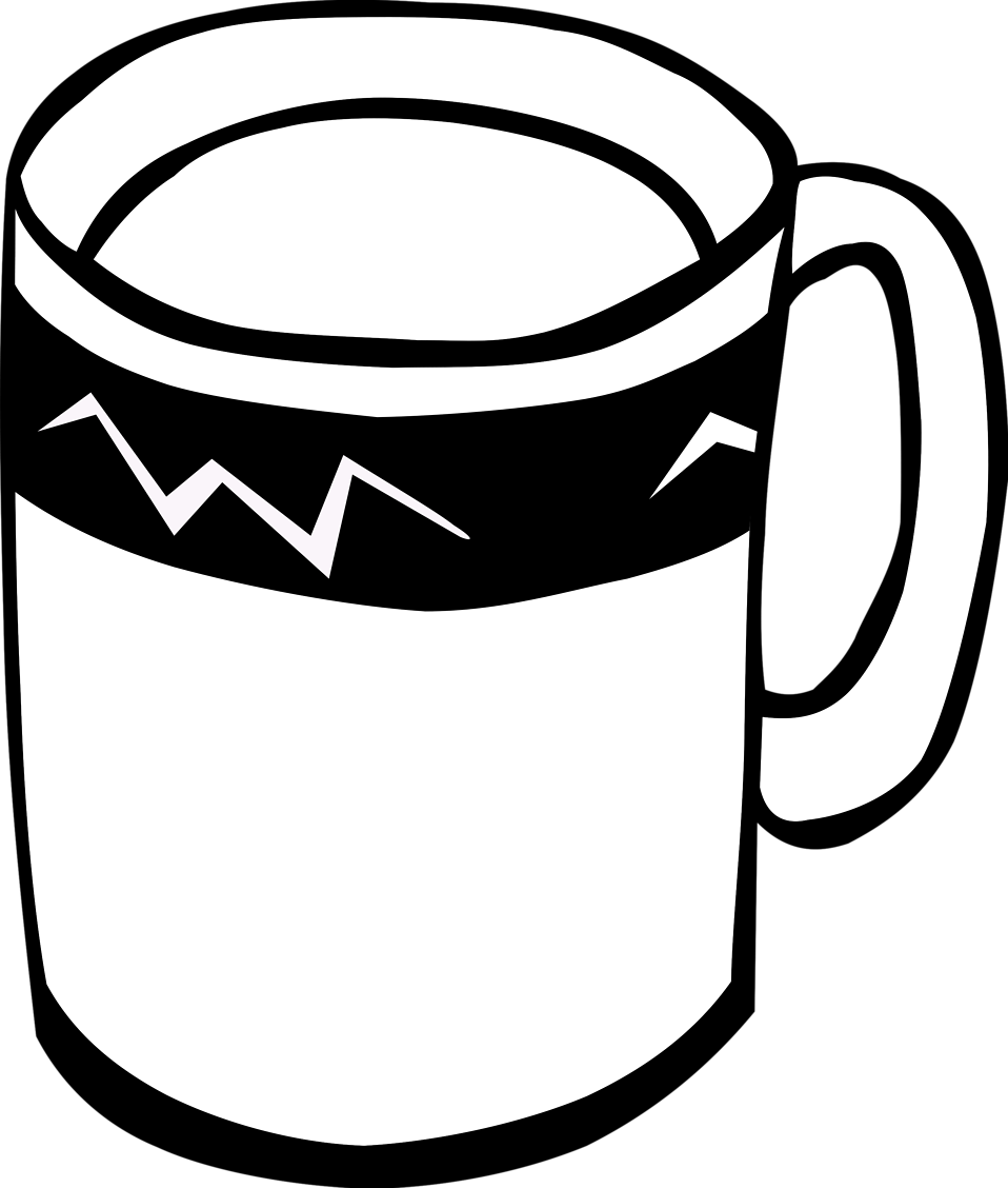 Cup line drawing pencil. Mug clipart coffee face