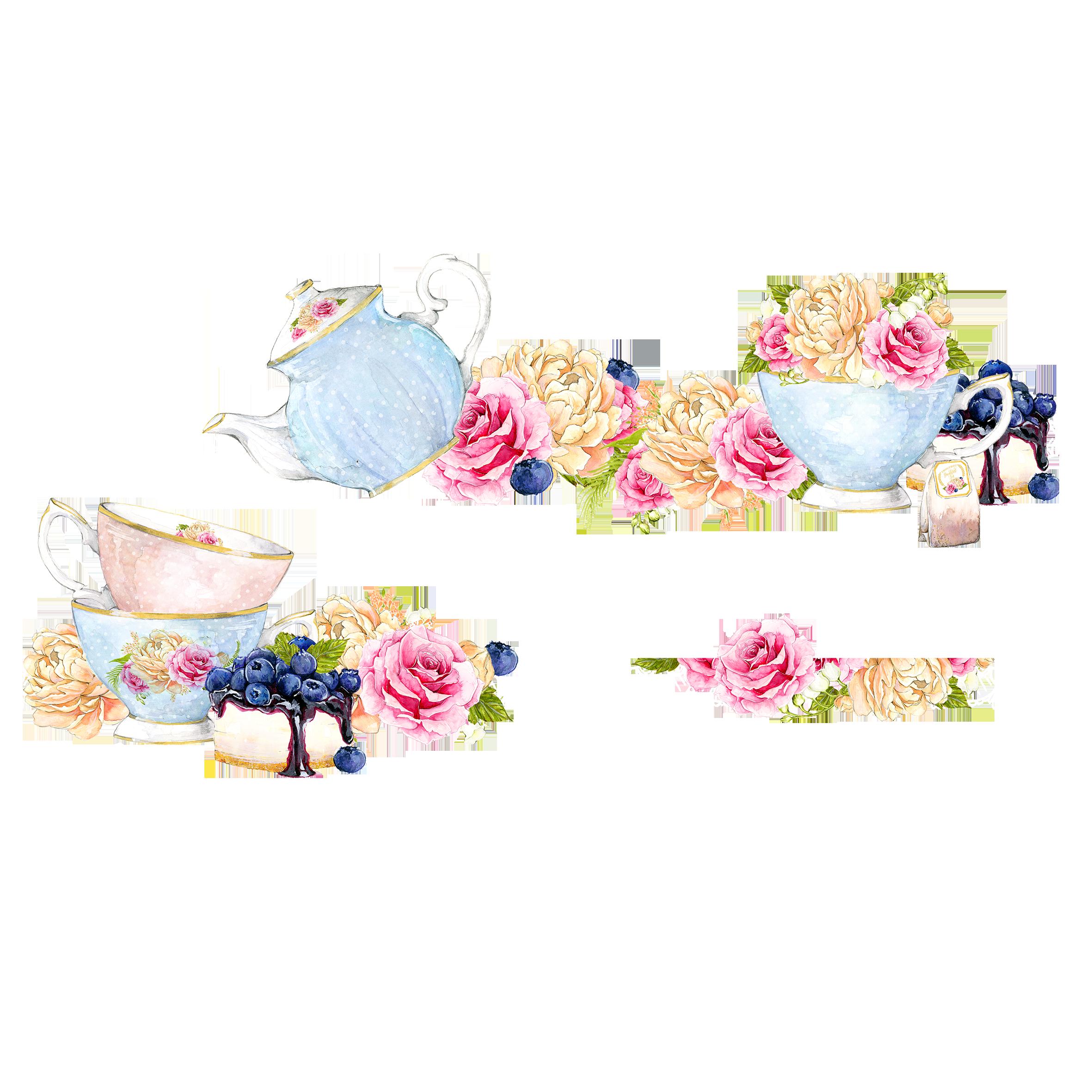 Wedding invitation teapot tea. Floral clipart teacup