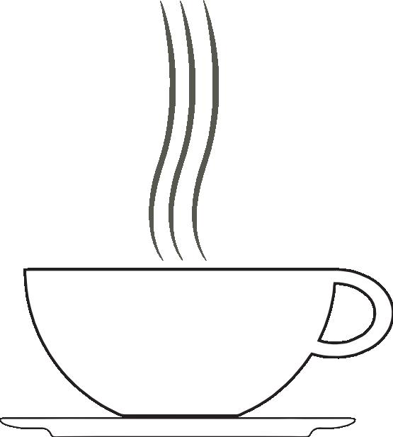 Cup clip black white. Coffee clipart line art