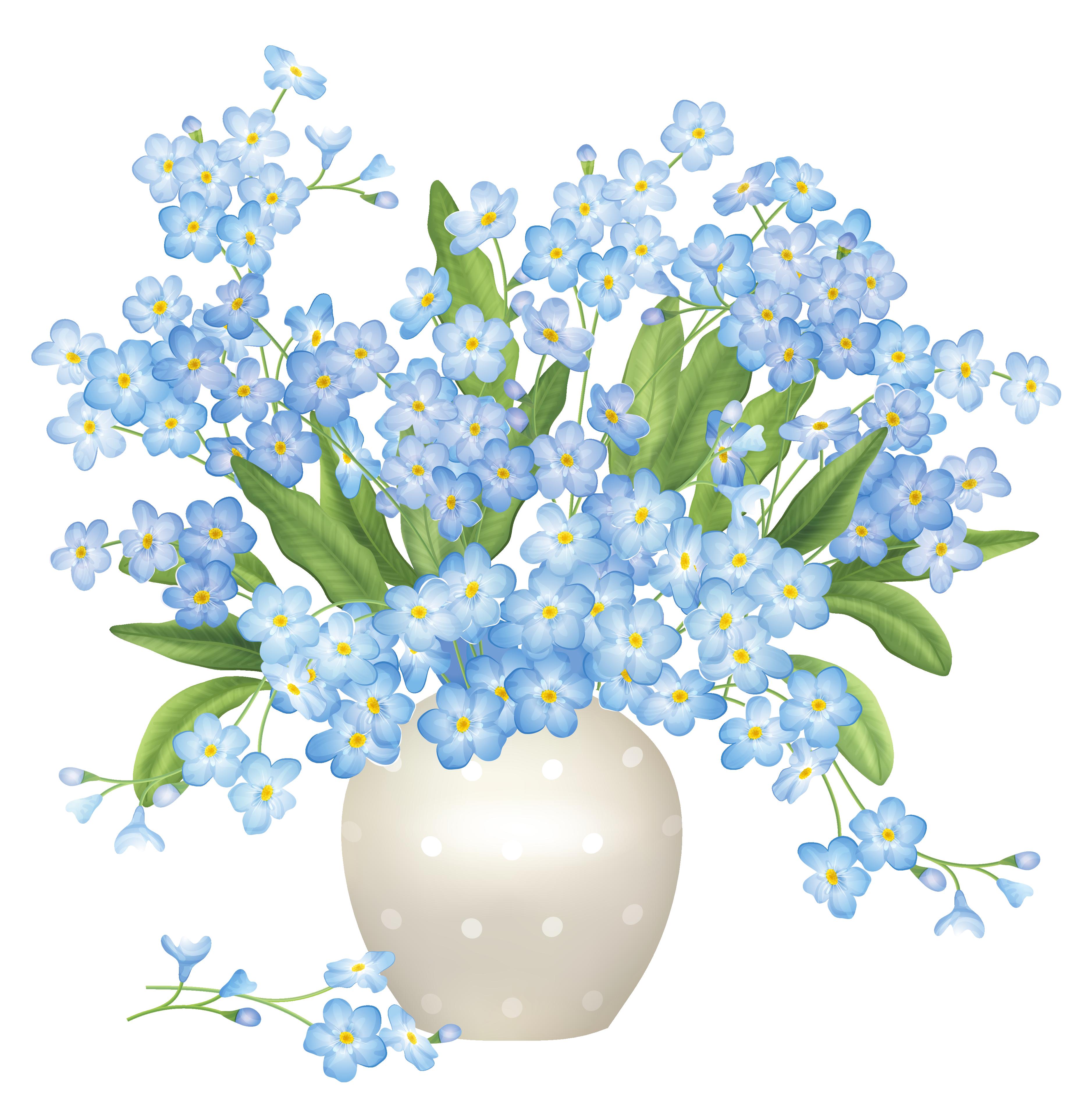 Blue flowers png pinterest. Clipart flower vase