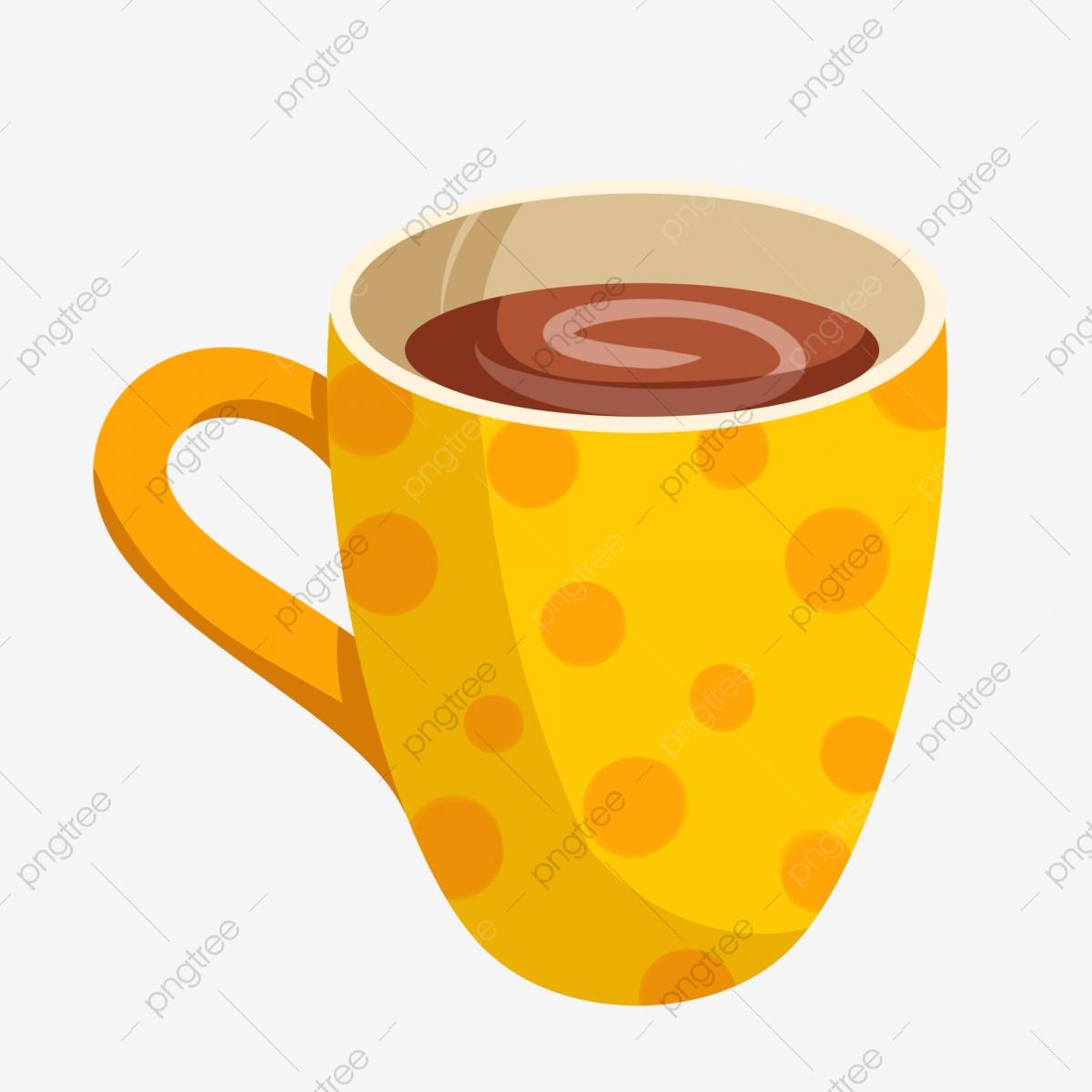 Brown coffee delicious cartoon. Mug clipart yellow cup