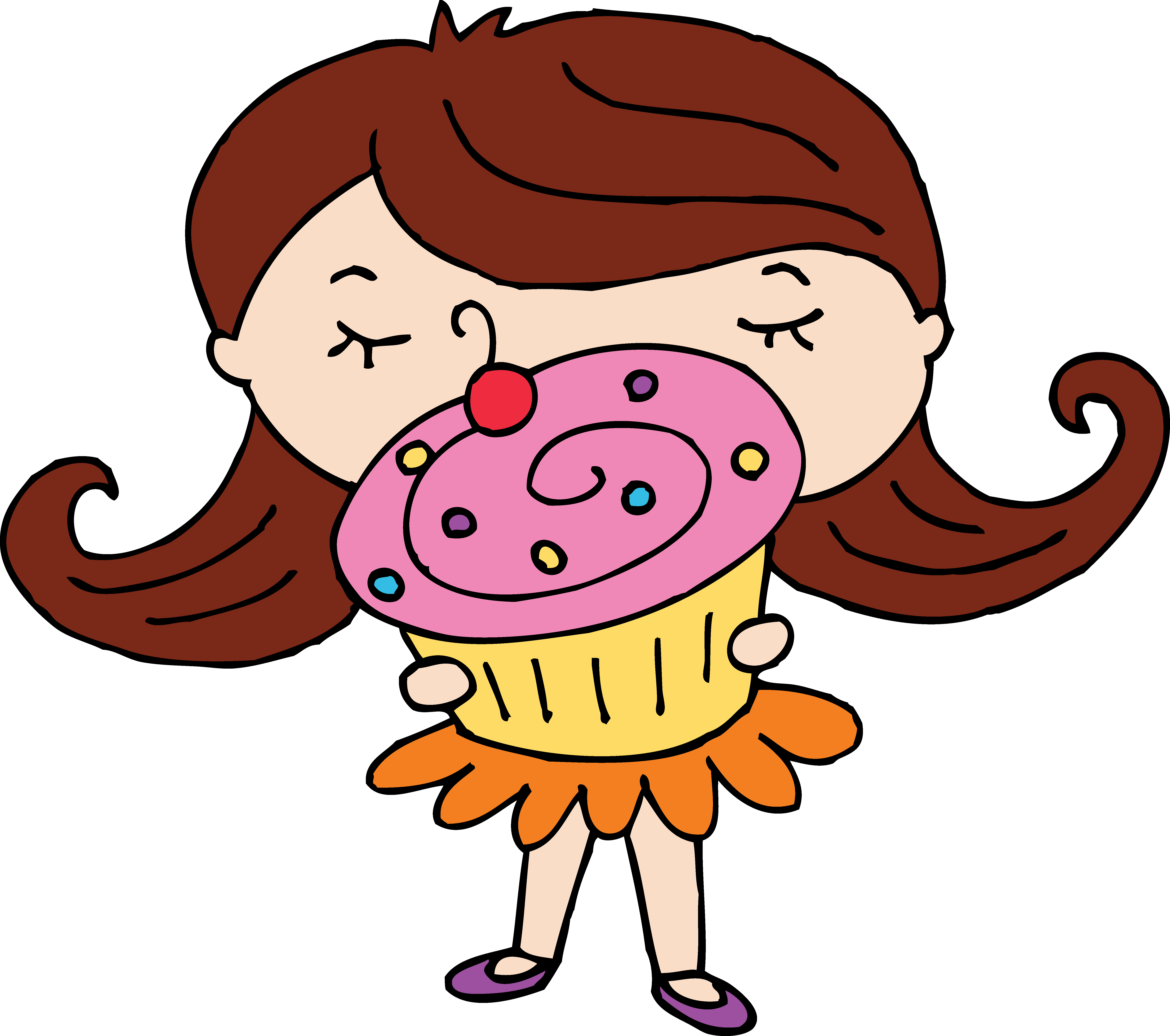 Cup cake group girl. Muffin clipart adorable