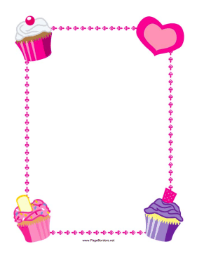 This printable border features. Clipart cupcake borders