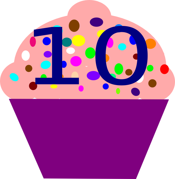 Cupcake ten pencil and. Number 1 clipart cute