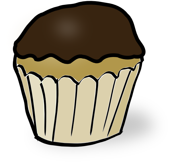 Muffin clipart breakfast muffin. Chocolate iced cupcake clip