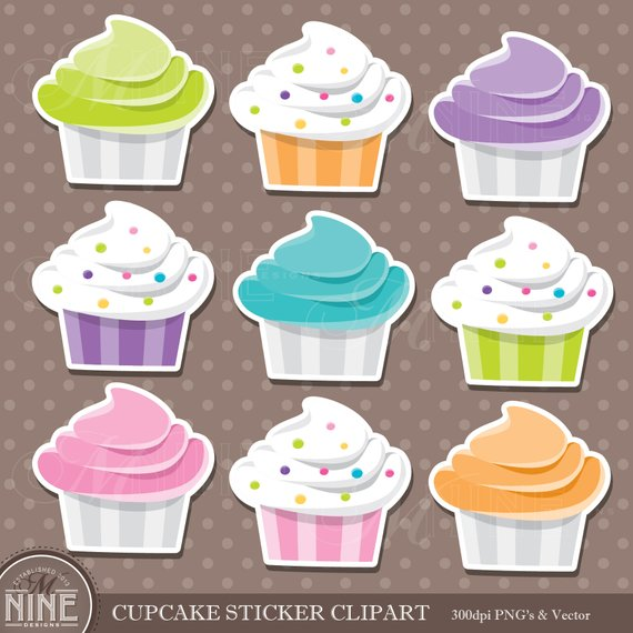 Cupcakes sticker clip art. Cupcake clipart collage