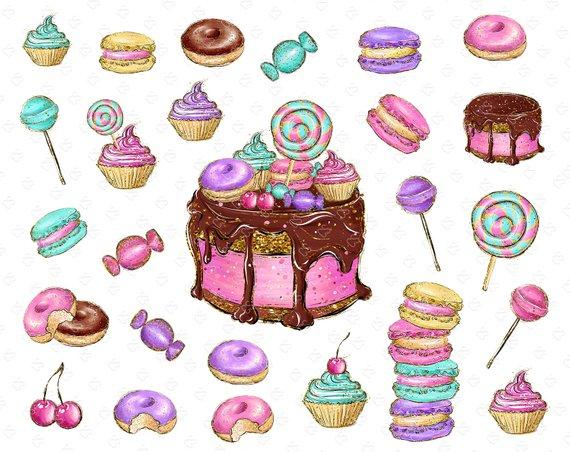Candy macaron cake donut. Lollipop clipart cupcake