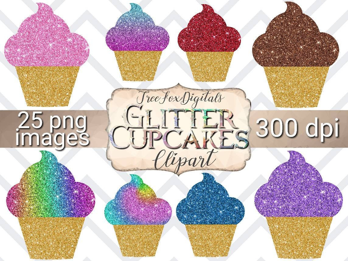 Cupcakes digital stickers commercial. Cupcake clipart glitter