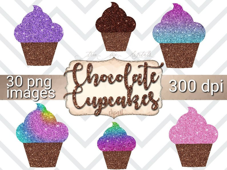Cupcake clipart glitter. Chocolate digital stickers rainbow