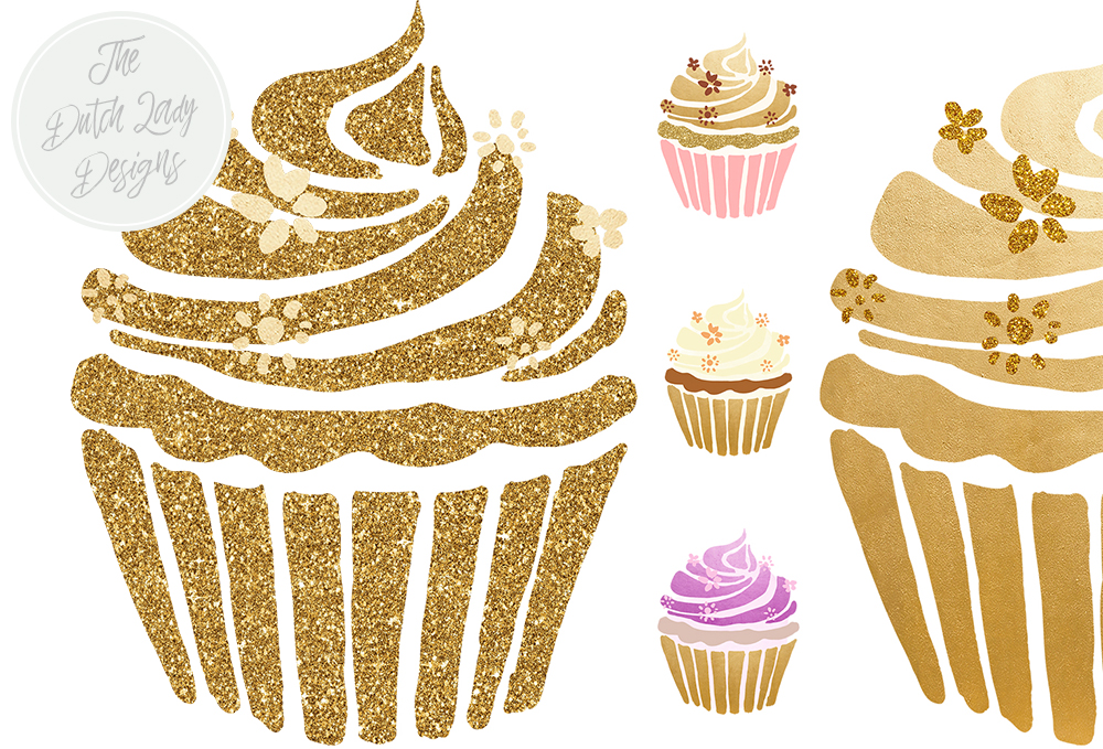 Cupcake clipart glitter. Set in gold sparkle