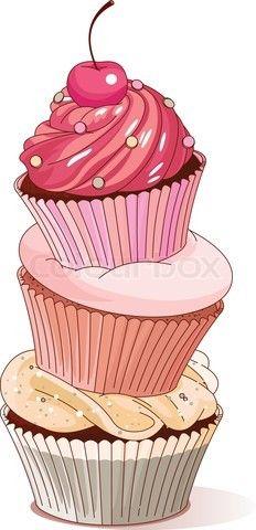 Clipart cupcake gourmet cupcake. Vector of pyramid cupcakes
