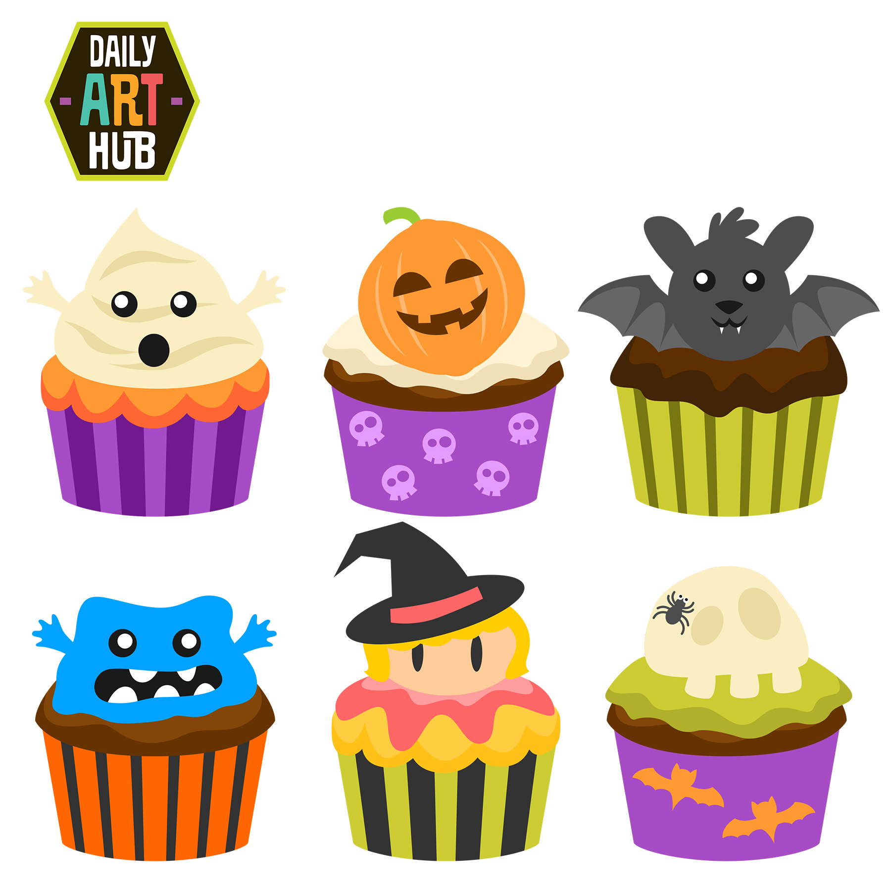 Clipart halloween bake sale. Cupcakes clip art set