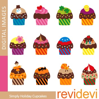 January clipart december. Clip art holiday cupcakes