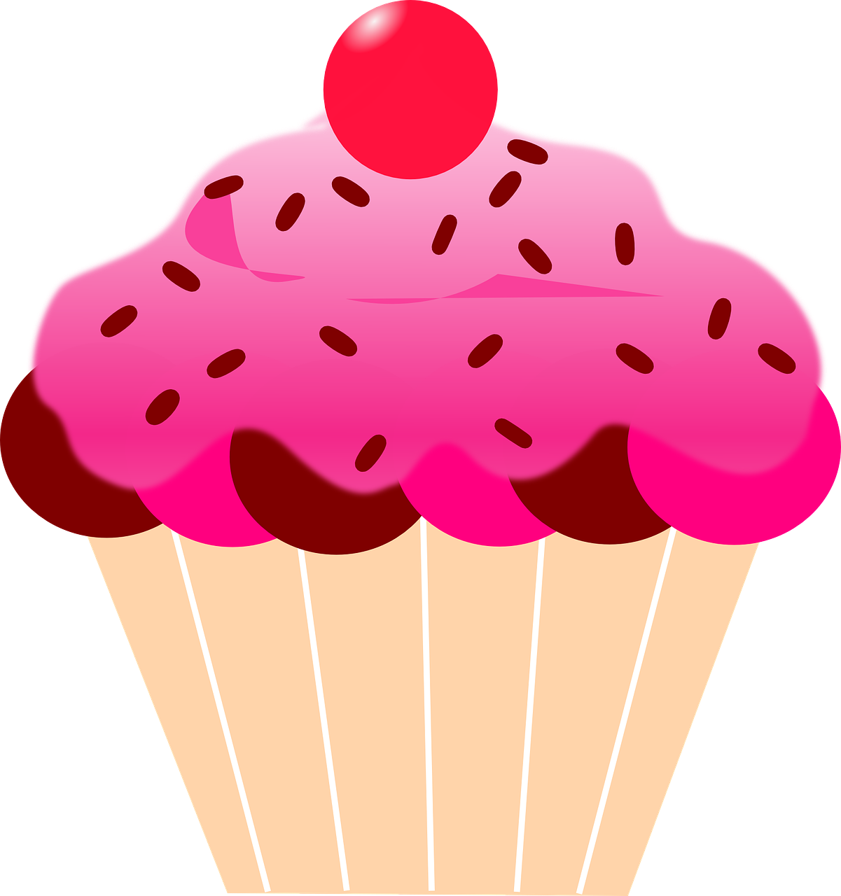 Cartoon group cherry pink. July clipart gold cupcake