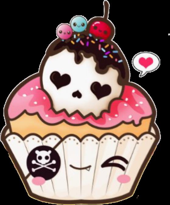 Kawaiicupckake kawaii drawing sticker. Clipart skull cupcake