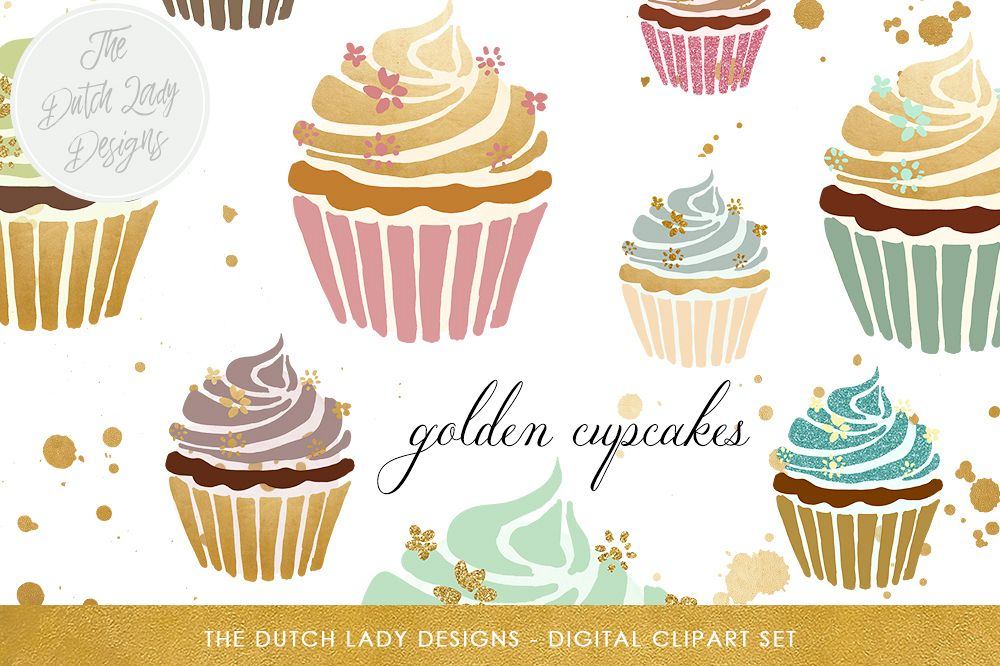 In gold pastel . Lady clipart cupcake