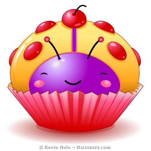 Kawaii illustrations clip art. Cupcake clipart ladybug