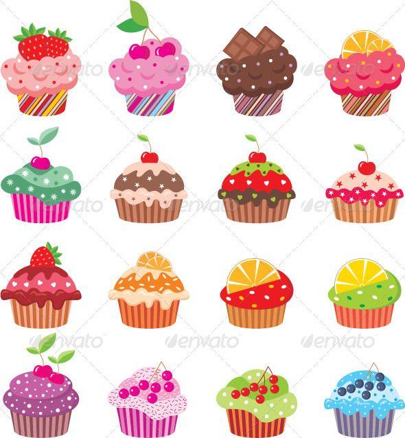 Cupcakes dessert stickers . Clipart cupcake ladybug