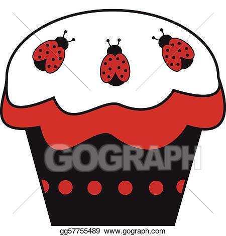 Vector art eps gg. Clipart cupcake ladybug