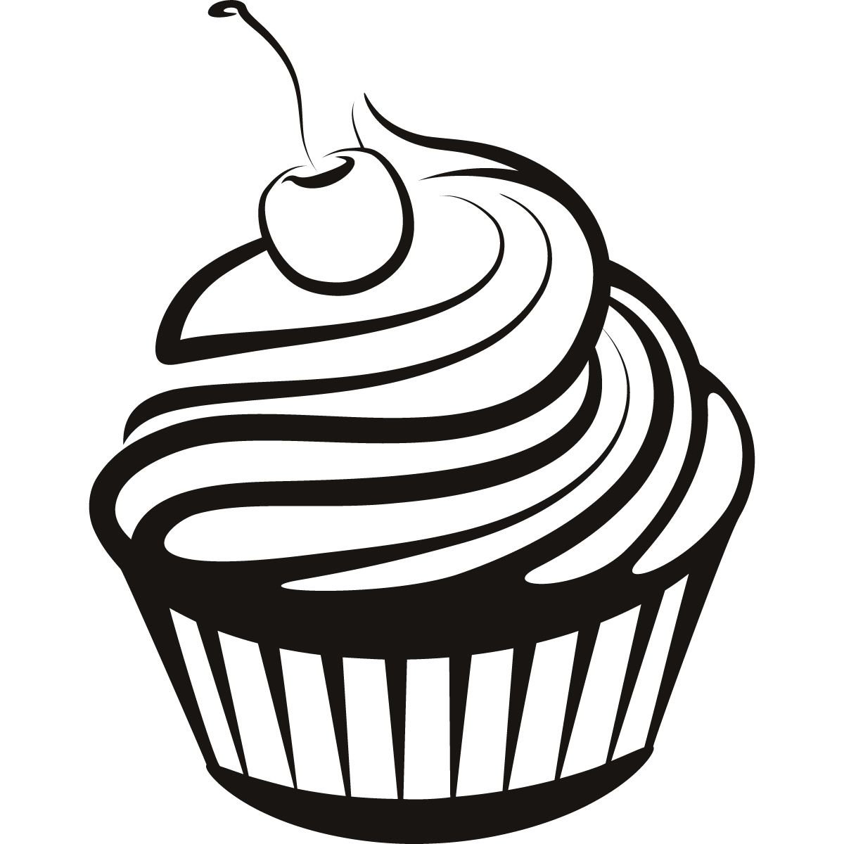 Clipart cupcake logo. Black and white drawings