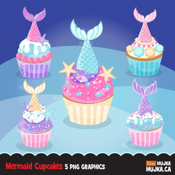 Tail baking cake graphics. Clipart cupcake mermaid