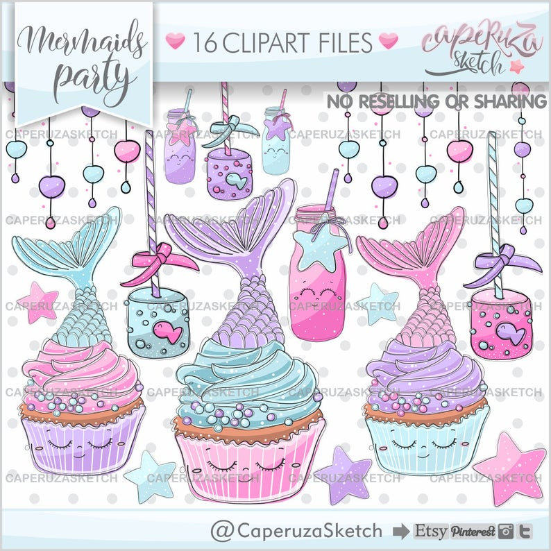 Clipart cupcake mermaid. Cupcakes graphics mermaids commercial